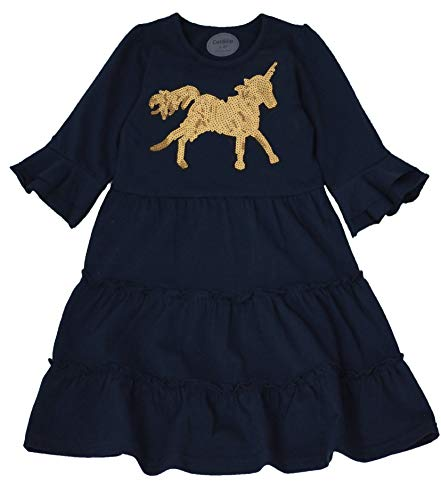 Coralup Little Girls Sequins Unicorn Tiered Ruffle Swing Casual Dress(2-3 Years,Navy) ()
