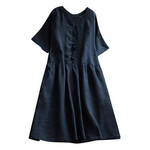 iPOGP Dress Women's Summer Casual Soild Simple Ruffles Short Sleeve Mini Dress Princess Blouse Fashion 2019(Navy,S)