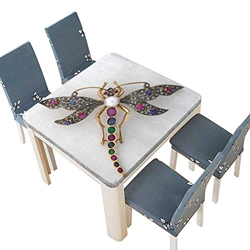 PINAFORE Waterproof SpillProof Tablecloth Dragonfly Jeweled Brooch Assorted Size 61 x 61 INCH (Elastic Edge) ()