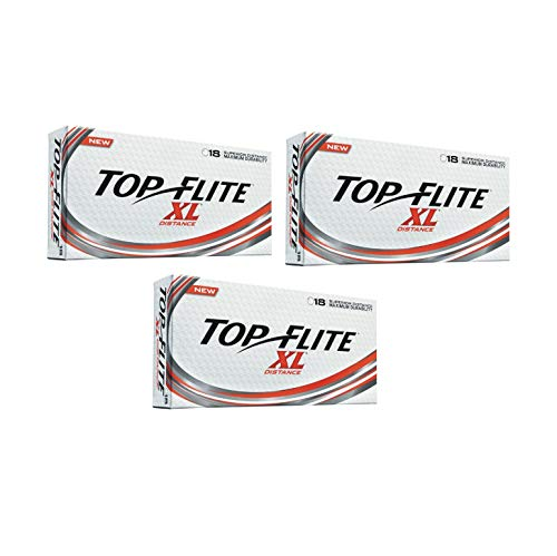(Top Flite Golf Balls XL Distance - Superior Distance - Durable Long Lasting - White - 54 Total Balls)