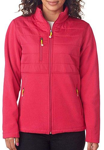 UltraClub Ladies' Fleece Jacket With Quilted Yoke Overlay, Raspberry, XX-Large