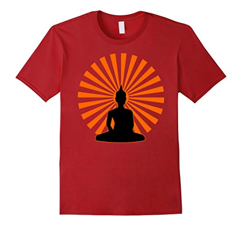 Mens Meditation Buddha Retro Tee Present Moment T-Shirt 2XL Cranberry