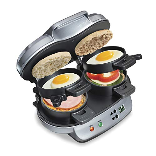 Hamilton Beach Dual Breakfast Sandwich Maker with Timer, Silver 25490A