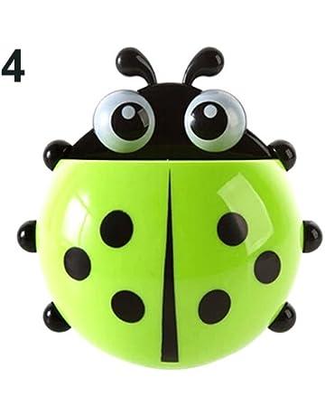 jhtecu Ladybug - Soporte para cepillos de Dientes con Ventosa para Pared, diseño de Mariquitas