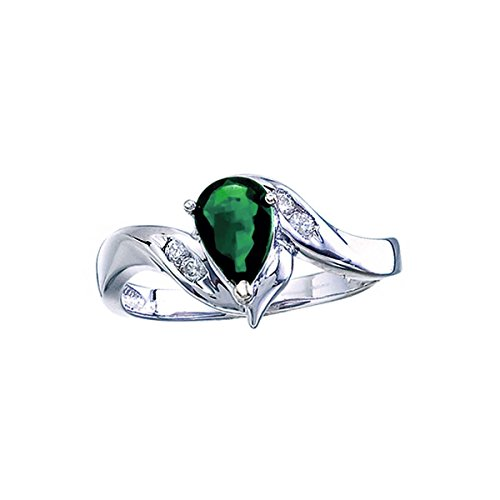 FB Jewels 14k White Gold Genuine Green Birthstone Solitaire Pear Emerald And Diamond Swirl Wedding Engagement Statement Ring - Size 7.5 (0.62 Cttw.)