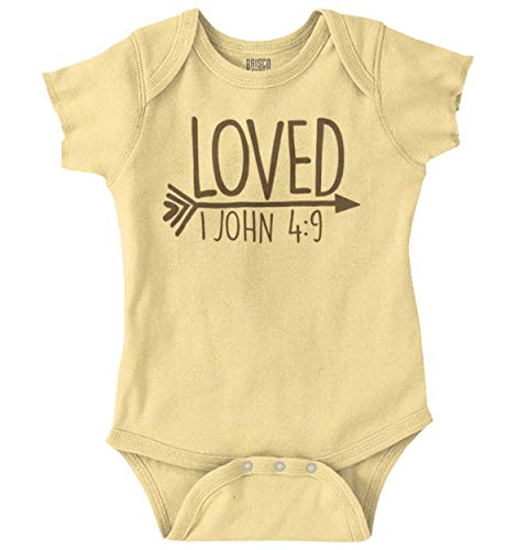 Brisco Brands Loved Bible Verse Christian New Baby Gift Baby Romper Bodysuits