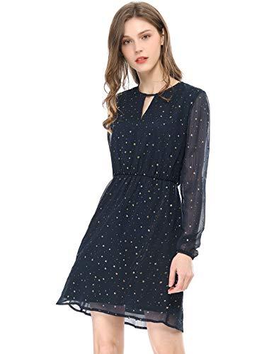 Allegra K Women's Choker V Neck Vintage Flared Gilding Metallic Shiny Star A-Line Dress XL Dark Blue from Allegra K