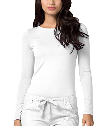 (Adar Womens Comfort Long Sleeve T-Shirt Underscrub Tee - 2900 - White - M)