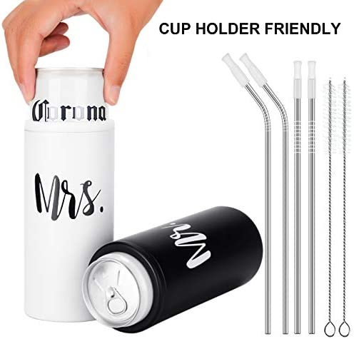 Mr and Mrs Skinny Can Coozie Set, Wedding Can Cooler for 12 Oz Slim Beer Cans, Stainless Steel Insulated Slim Can Cooler for Newlyweds Couples, Wedding Gifts for Bridal Showers Engagement Anniversary