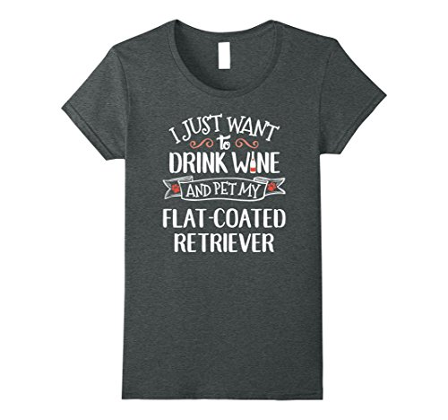 Womens Flat Coated Retriever T-Shirt for Wine Lovers & Dog Owners Large Dark Heather
