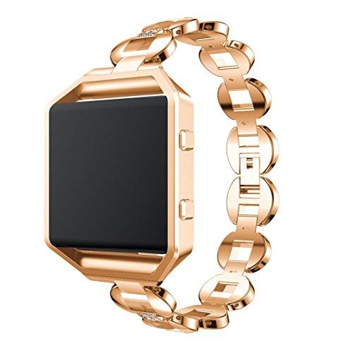 Hot Item! Memela(TM)For Fitbit Blaze, Women Elegant Luxury Alloy Crystal Bling Wristwatch Bracelet Strap Belt Replacement (Rose Gold)