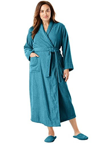 Dreams & Co. Women's Plus Size Long Terry Robe with Free Matching Slippers - Deep Lagoon, L