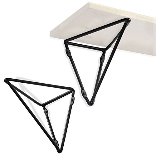 Wallniture Prismo Multipurpose Wall Mount Geometric Brackets for Floating Shelf - DIY Shelving Triangle Design - Iron Set of 2 - Triangle Bracket