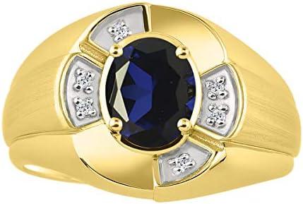 ユニセックスリング 楕円形の宝石と本物の輝くダイヤモンド付き 14Kイエローゴールドメッキシルバー .925-8X6MM カラーストーン 誕生石リング