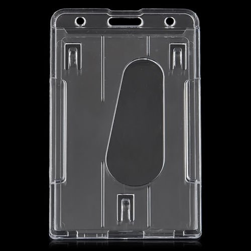 MAZIMARK--Transparent Vertical Multi ID Card Badge Holder Clear Cover Hard Plastic (Clear Apc Diamond)