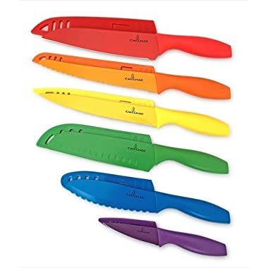 Culina 6 Pieces Color Knife and Blade Guard Set, Nonstick Stainless Steel
