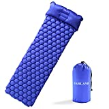 FARLAND Ultralight Air Sleeping Pad – Inflatable with Pillow Camping Mat Waterproof Anti-Slip for Backpacking, Traveling and Hiking Air Cell Design (Blue)