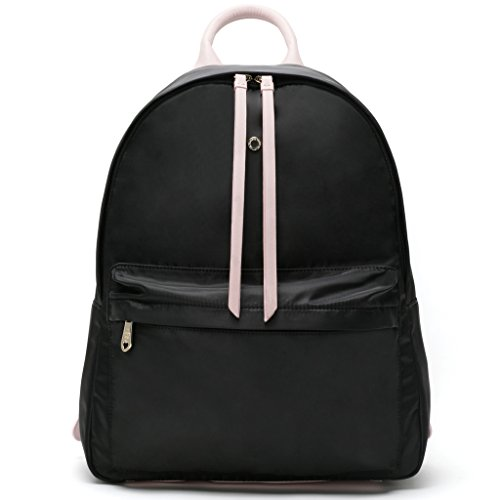 Petal Pull (The Lovely Tote Co. Women's Lightweight Backpack with Double Pulls, Black/Petal Pink)