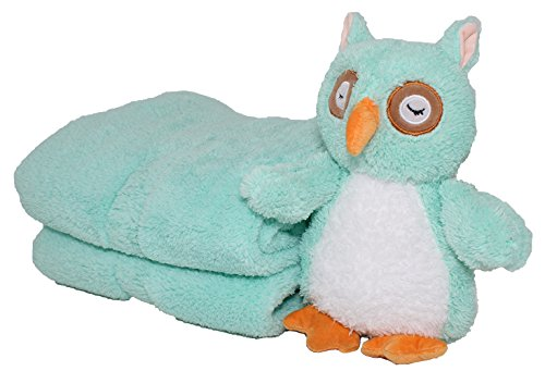 SILVER ONE Sherpa Plush Stuffed Animal and Throw Blanket 2 Peice Gift Set for Kids/Children | 50'' x 60'' Soft Plush Throw (Teal Owl, 50'' x 60'') by SILVER ONE (Image #2)