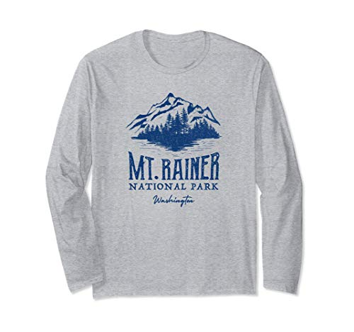 Vintage Mt Rainer National Park Washington Long Sleeve T-Shirt