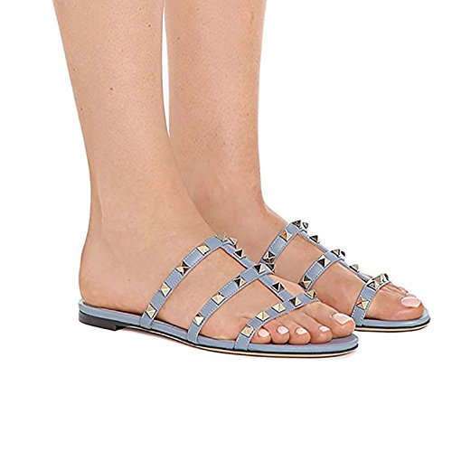 Slippers Strappy 5 Slides t Mules Backless Rockstud Sandals Chris 14 Blue Rivets Studded Dress Womens Flats Us Gladiator 6Hpc6nqO
