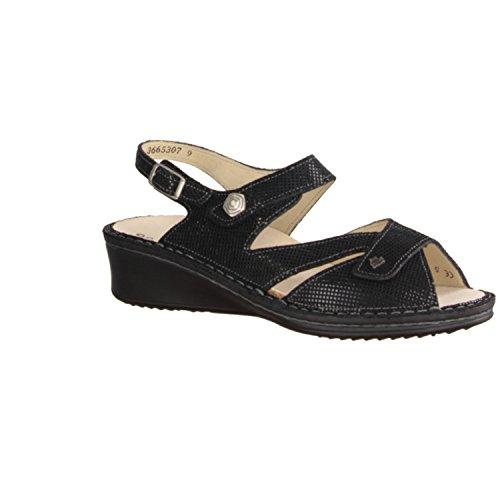 Finn comfort santorin-chaussures sandale confortable-pochette de rangement, noir, en cuir (points)