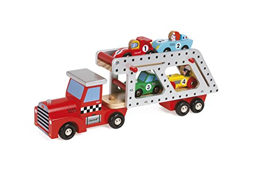 - Janod Story Car Transporter Lorry with 4 Racing Cars