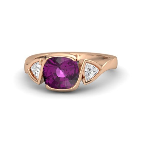 - Cushion Rhodolite Garnet 14K Rose Gold Engagement Ring â€