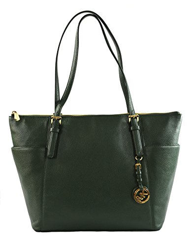Michael Kors Large East West Top Zip Leather Tote Moss by Michael Kors