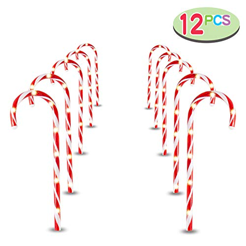"Joiedomi 17"" Christmas Candy Cane Pathway Markers, Set of 12 Christmas Pathway Lights for Indoor and Outdoor Christmas Decorations"
