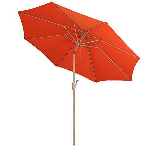 Aluminum Tilt Offset Umbrella - Balichun Patio Umbrella 9 Ft Outdoor Table Aluminum offset market umbrellas with Push Button Tilt and Crank (9 Ft, Orange)
