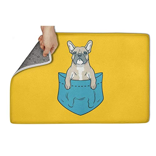 zyiirtpjfd Indoor Outdoor Entrance Doormat (23.5x15.5) Boston Terrier and French Bulldog Heavy Duty Door Mat Welcome Easy Remain Dirt No-Slip Backing Rugs Dirt Debris Mud Trapper
