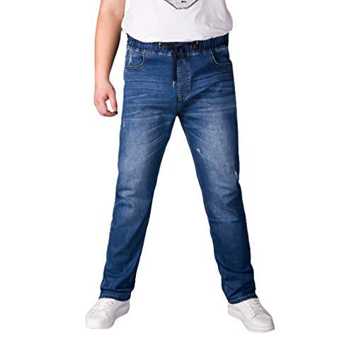 Multi Poches Baggy Bleu Jeans Clair Extensible Mode Taille Denim Cordon Pantalon Droit Homme Élastique HAt1qq