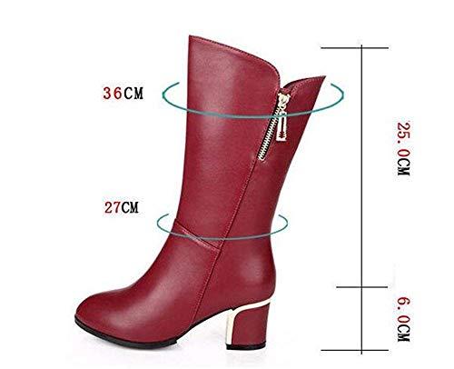 Tacchetti rosso Eu Deed Laterali Heel Tacco Martin 38 Alto Cerniera Donne Stivali Eu Pu 's Boots 36 66wUBzxq