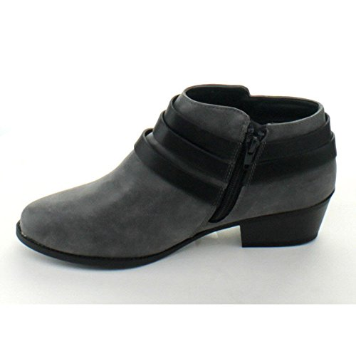 Buckle Strap Dress Soda Stylish Womens Black Grey Bootie Ankle Alum qfwwt1HI7