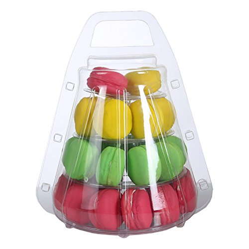 Clear-4 Tier Lightweight Plastic Macaron Tower Display With Carrying -