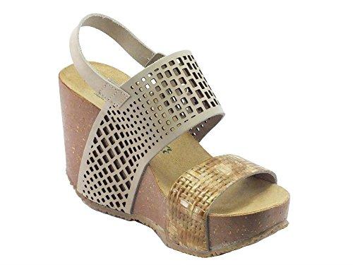 BioNatura 29 A 864 Laser Nabuk Stuoia Natural - Sandalias de vestir de Piel para mujer Natural