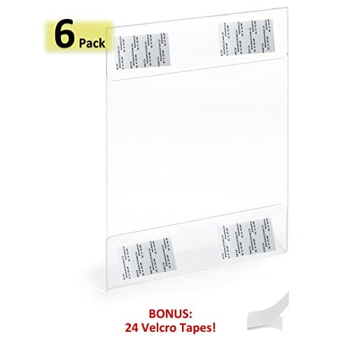 Acrylic Sign Holder 8.5 x 11-Inches 2mm Thick Wall Mount Ad Frame with Adhesive and Tapes, Clear, Pack of 6, No Drilling (6 Pack Vertical) free shipping