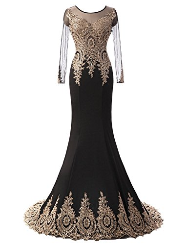 Black Prom Long 2017 Beaded Evening Women Sleeve Embroidery Mother s Dresses Fanciest Gowns wXO7Sqnn