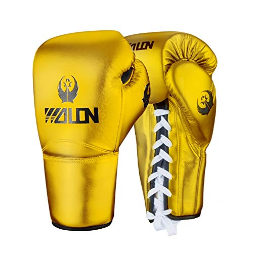 ZHANGQIAO-US Grownup General Boxing Gloves Fight Sanda Training Sandbags Fight Muay Thai Professional Gloves UV Protection Non-Slip Gloves (Color : Gold, Size : 12oz)