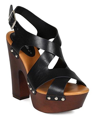 Breckelle CK60 Women Leatherette Peep Toe Strappy Slingback Platform Chunky Heel Sandal - Black