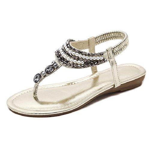YMFIE Las señoras del Verano Ocasionales de la Moda pellizcan Antideslizantes Zapatos de Playa de Bohemia Rhinestone con Cuentas cómodas Sandalias Planas Gold