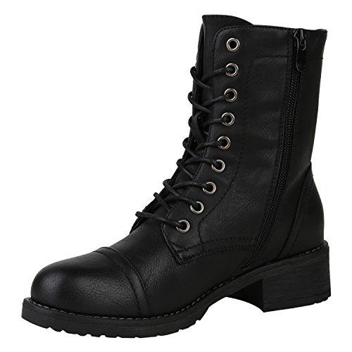 Damen Stiefeletten Lack Worker Boots Schnürstiefel Zipper Flandell Schwarz Nieten
