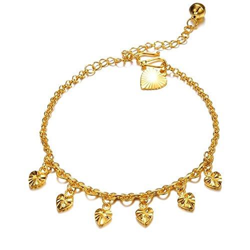 Charms Heart Anklet Gold - Star Jewelry 18k Gold Plated Copper Women Anklet Bracelet Chain Lantern/Heart/Bells Pendant Adjustable
