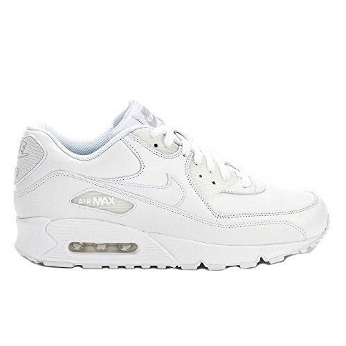 NIKE Men's Air Max 90 Leather White/White Running Shoe 11 Men US -