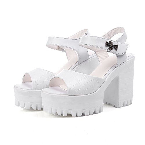 High Womens AmoonyFashion Hook Heels loop Leather Sandals and Peep Cow Toe White Solid xIxdpwZT