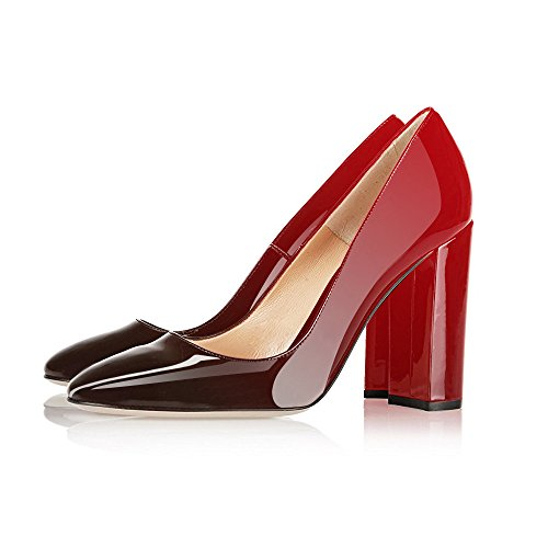 Women's Gorgeous Black Shoes Modemoven Patent Stiletto Pumps Party Round Toe Sexy Evening Heels Block Red Leather RAqda