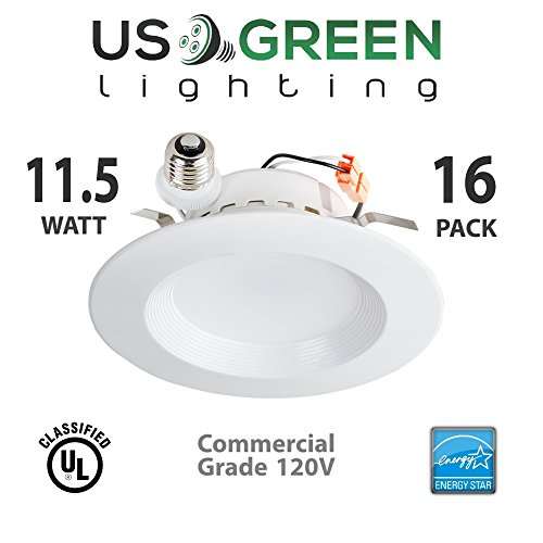 16 Pack 11.5W LED 3000K (Warm White) 5''/6'' Recessed Can Retrofit Downlight, Dimmable, 650 Lumen, Energy Star, 90 CRI, 75W replacement, Low Profile by US Green Lighting