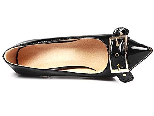 CSDM Donne Stiletto Heel Scarpe da sposa Pochette a bocca liscia punta punta a cinghia metallica Fibbia ad altezze Large Size Scarpe , black , 44 custom 2-4 days do not return