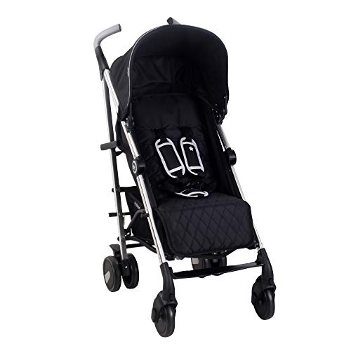 My Babiie US51 Black Baby Stroller – Lightweight Baby Stroller with Carry Handle – Silver Frame and Black – Lightweight Travel Stroller – Stylish Umbrella – Babies 6 Months – 33 lbs